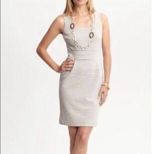 Banana Republic Tan & White Striped Dress Size 2P